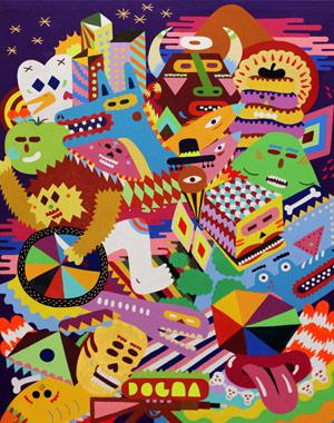 Présentation des travaux de Kenor, H101, Zosen, & Göla à la galerie Celal - Paris. Une avalanche de couleurs pour ces pièces réalisées entre 2009 et 2011.